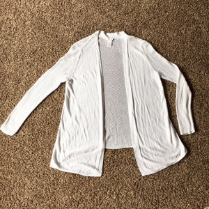 Cache Open Front White Sweater Cardigan open knit